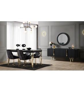 Alina Yemek Odası Takımı (Siyah)