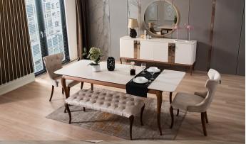 inegöl mobilyasısı Bella Yemek Odası Takımı (Ceviz/Krem)
