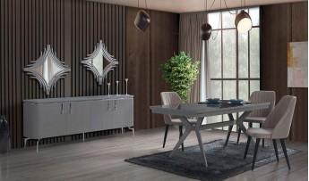 inegöl mobilyasısı Bohem Yemek Odası Takımı (Gri)