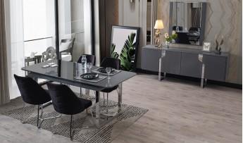 inegöl mobilyasısı Carmen Yemek Odası Takımı (Antrasit)