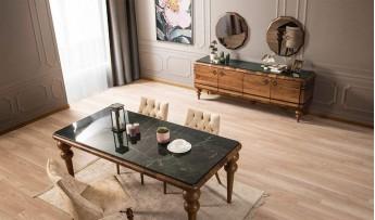 inegöl mobilyasısı Marizza Yemek Odası Takımı (Mermer Desenli)